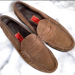 Cole Haan Brown Suede Penny Loafers Size 8E